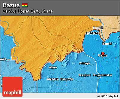 Political 3D Map of Bazua