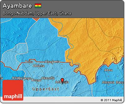 Political 3D Map of Ayambare