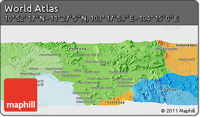 """Political Panoramic Map of the Area around 11°9'41""""N,103°46'30""""E"""