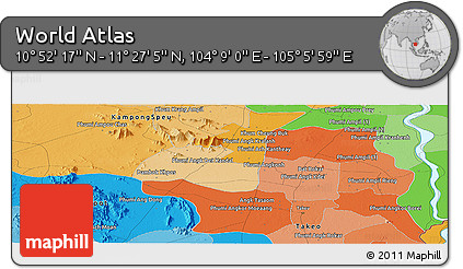 """Political Panoramic Map of the Area around 11°9'41""""N,104°37'30""""E"""