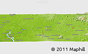 """Physical Panoramic Map of the area around 11°9'41""""N,107°10'30""""E"""