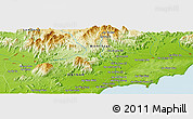 """Physical Panoramic Map of the area around 11°9'41""""N,108°1'30""""E"""