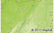 "Physical Map of the area around 11° 9' 41"" N, 1° 46' 29"" E"