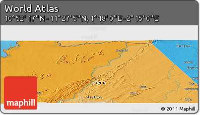 """Political Panoramic Map of the Area around 11°9'41""""N,1°46'29""""E"""