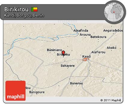 Shaded Relief Panoramic Map of Birikirou