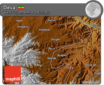 Free Physical 3D Map of Deva on