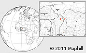 """Blank Location Map of the area around 11°9'41""""N,3°28'30""""E"""