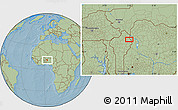 """Savanna Style Location Map of the area around 11°9'41""""N,3°28'30""""E, hill shading"""