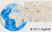 """Shaded Relief Location Map of the area around 11°9'41""""N,3°28'30""""E"""