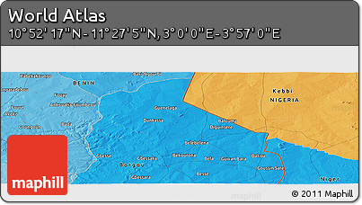 """Political Panoramic Map of the Area around 11°9'41""""N,3°28'30""""E"""