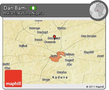 Physical Panoramic Map of Dan Bami