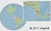 Savanna Style Location Map of San Carlos, hill shading