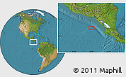 """Satellite Location Map of the area around 11°9'41""""N,88°19'29""""W"""