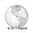 """Outline Map of the Area around 11° 9' 41"""" N, 88° 19' 29"""" W, rectangular outline"""