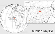 """Blank Location Map of the area around 11°9'41""""N,8°34'29""""E"""