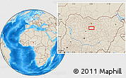 """Shaded Relief Location Map of the area around 11°9'41""""N,8°34'29""""E"""