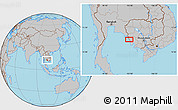 Gray Location Map of Krŏng Kaôh Kŏng