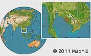 Satellite Location Map of Krŏng Kaôh Kŏng