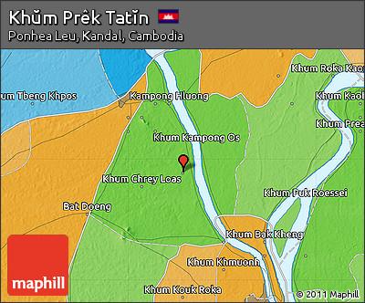 Political Map of Khŭm Prêk Tatĭn