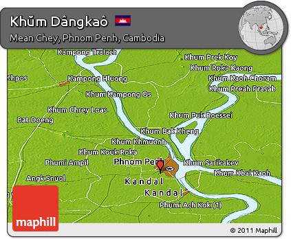 Physical Panoramic Map of Khŭm Dângkaô