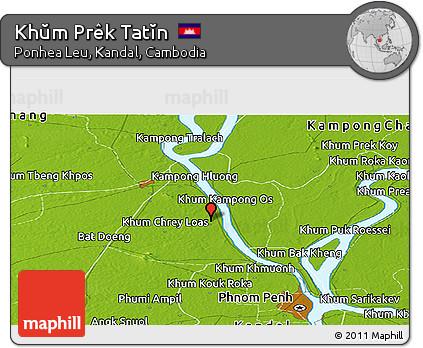 Physical Panoramic Map of Khŭm Prêk Tatĭn