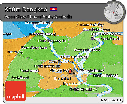 Political Panoramic Map of Khŭm Dângkaô