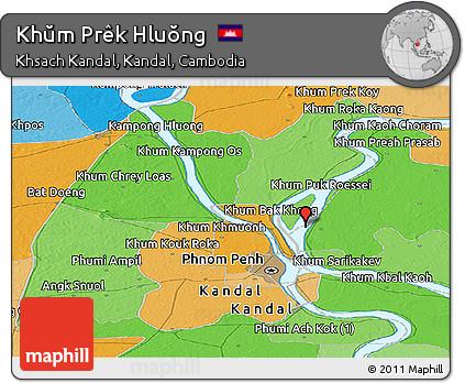Political Panoramic Map of Khŭm Prêk Hluŏng