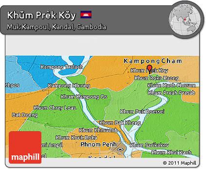 Political Panoramic Map of Khŭm Prêk Kŏy