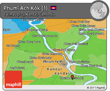 Political Panoramic Map of Phumĭ Ach Kŏk (1)