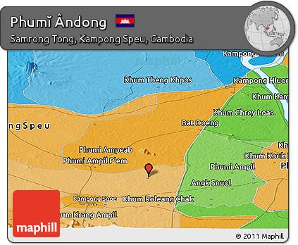 Political Panoramic Map of Phumĭ Ândong