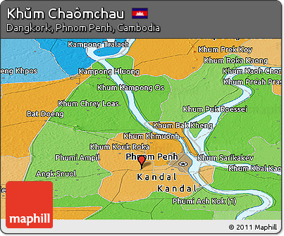 Political Panoramic Map of Khŭm Chaômchau