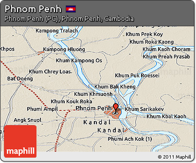 Shaded Relief Panoramic Map of Phnom Penh