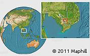 Satellite Location Map of Prey Vêng