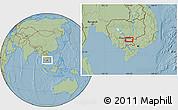 Savanna Style Location Map of Prey Vêng, hill shading