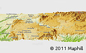 """Physical Panoramic Map of the area around 11°40'49""""N,108°1'30""""E"""