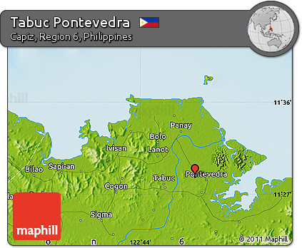 Capiz Philippines Map.Free Physical Map Of Tabuc Pontevedra