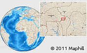 """Shaded Relief Location Map of the area around 11°40'49""""N,1°46'29""""E"""