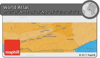 """Political Panoramic Map of the Area around 11°40'49""""N,1°46'29""""E"""