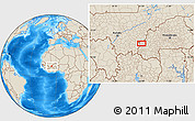 """Shaded Relief Location Map of the area around 11°40'49""""N,5°1'30""""W"""