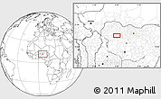 """Blank Location Map of the area around 11°40'49""""N,6°1'30""""E"""