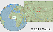 """Savanna Style Location Map of the area around 11°40'49""""N,6°1'30""""E, hill shading"""