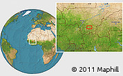 """Satellite Location Map of the area around 11°40'49""""N,6°43'29""""W"""