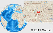 """Shaded Relief Location Map of the area around 11°40'49""""N,6°43'29""""W"""