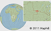 Savanna Style Location Map of Caluache, hill shading