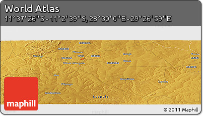 """Physical Panoramic Map of the Area around 11°20'3""""S,28°58'30""""E"""