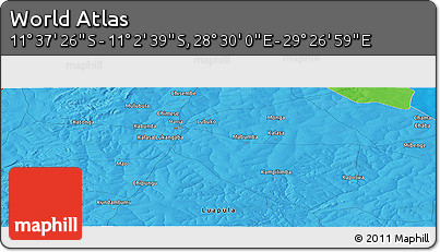 """Political Panoramic Map of the Area around 11°20'3""""S,28°58'30""""E"""