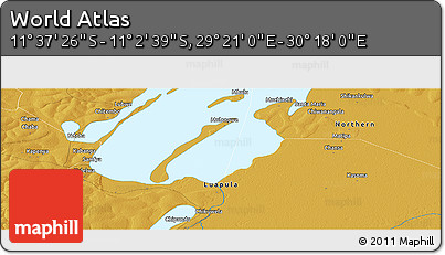 """Physical Panoramic Map of the Area around 11°20'3""""S,29°49'30""""E"""