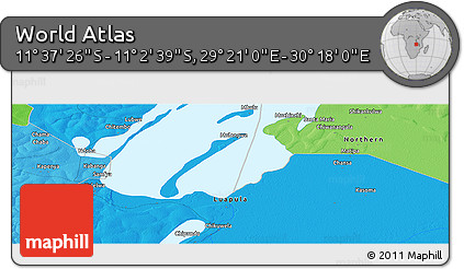 """Political Panoramic Map of the Area around 11°20'3""""S,29°49'30""""E"""
