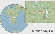 Savanna Style Location Map of Chikakala, hill shading