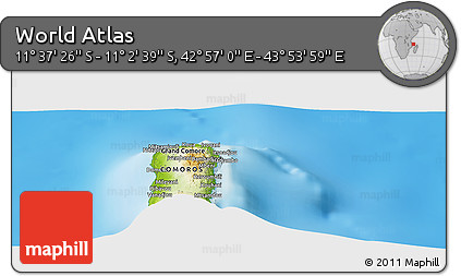 """Physical Panoramic Map of the Area around 11°20'3""""S,43°25'29""""E"""